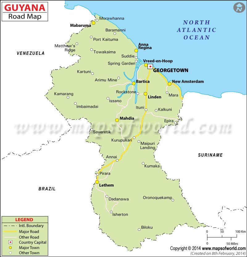 Guyana Road Map Mapas Y Planisferios Pinterest Capital City - South america road map