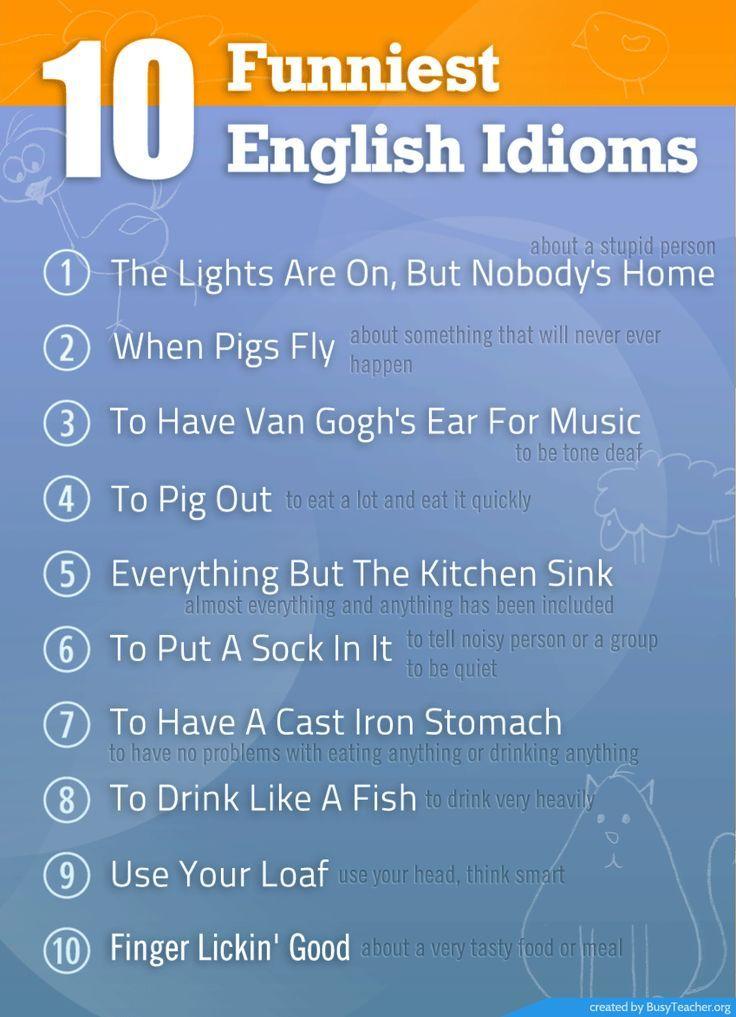 Funniest English Idioms Learn English Esl Toefl   Funniest English Idioms Learn English Esl Toefl