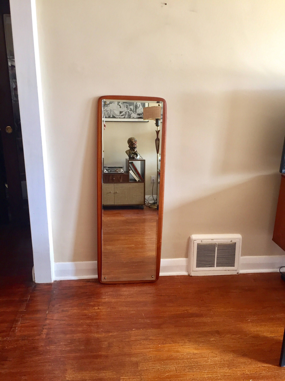 Mid Century Modern Danish Teak Full Length Mirror. 50 inches