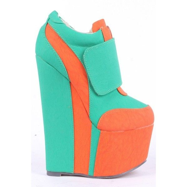 ORANGE GREEN CONTRAST NU BUCK VELCRO SNAP PLATFORM WEDGE SNEAKER... ($25) ❤ liked on Polyvore featuring shoes