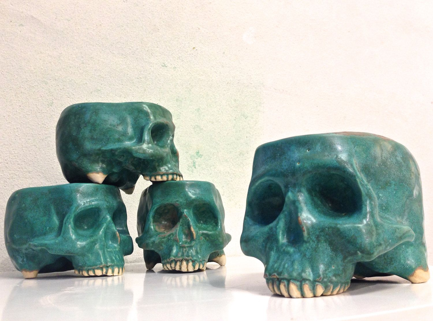 Stoneware Ceramic Skull Mug SET of 4 Vessels by Tony Furtado by ...