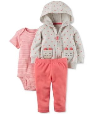 42492da4191f Carter s 3-Pc. Dot-Print Cat Hoodie