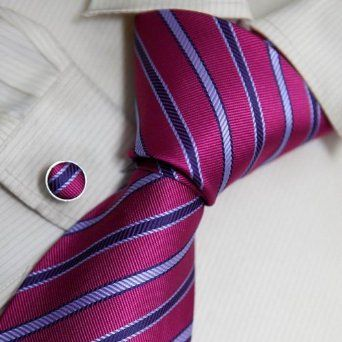 Medium Violet Red Striped Designer Mens Ties Stripes Personalized Gift Mens Style Silk Necktie Cufflinks Set 8101