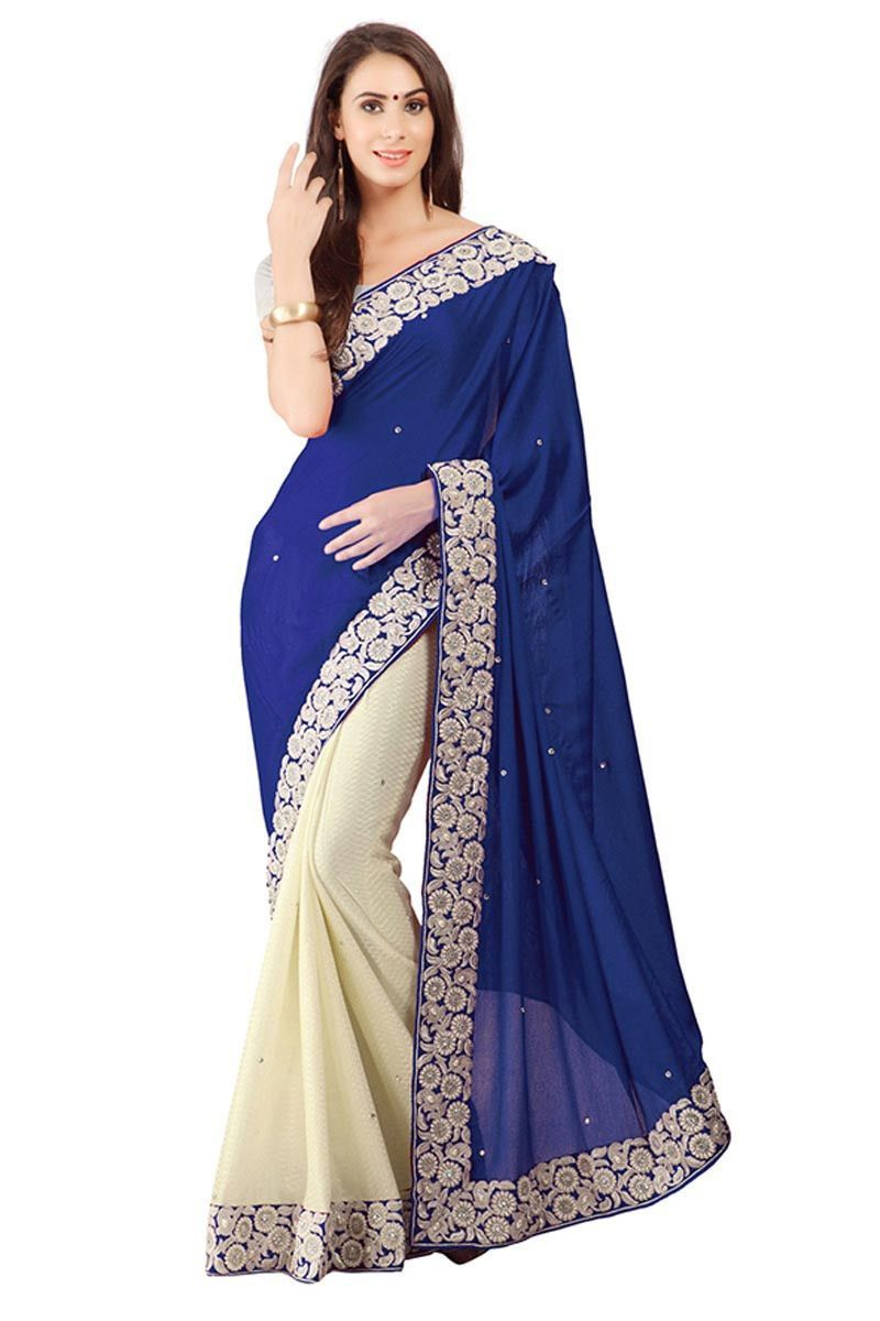Blue Off White Lycra Designer Saree with Off White Art Silk Blouse