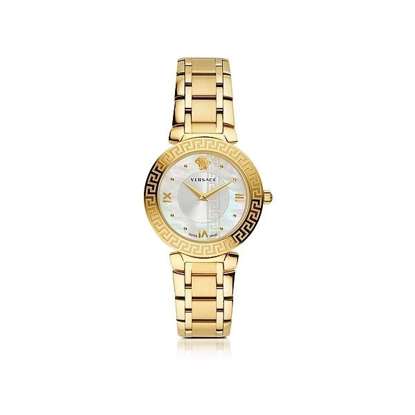 Versace Women's Watches Daphnis PVD Gold Plated Women's Watch w/Greek... (10.160 DKK) ❤ liked on Polyvore featuring jewelry, watches, gold, women's watches, versace, logo watches, versace watches, bezel watches and dot jewelry