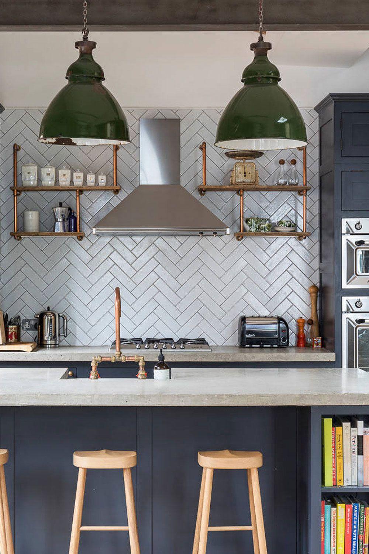 White Kitchen Blue Herringbone Backsplash