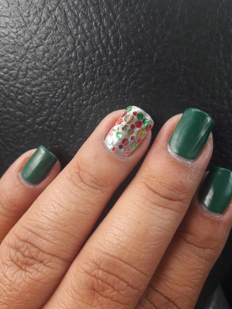 Gelish Nails, christmas Nails, Green, chrome effect and confetti ...