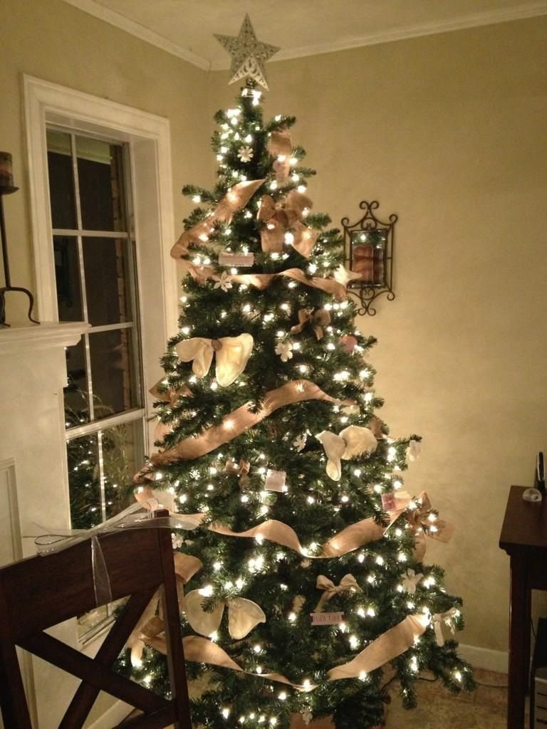 Rustic Burlap And Lace Christmas Tree Holiday Time