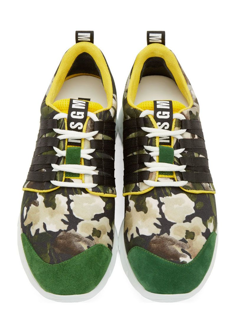 Green & Yellow Suede Sneakers by MSGM. Low-top textile sneakers in tones of green and beige with floral pattern and yellow trim throughout, suede trim in vivid green. White lace-up closure with black band accents at sides. http://www.zocko.com/z/JJOcd
