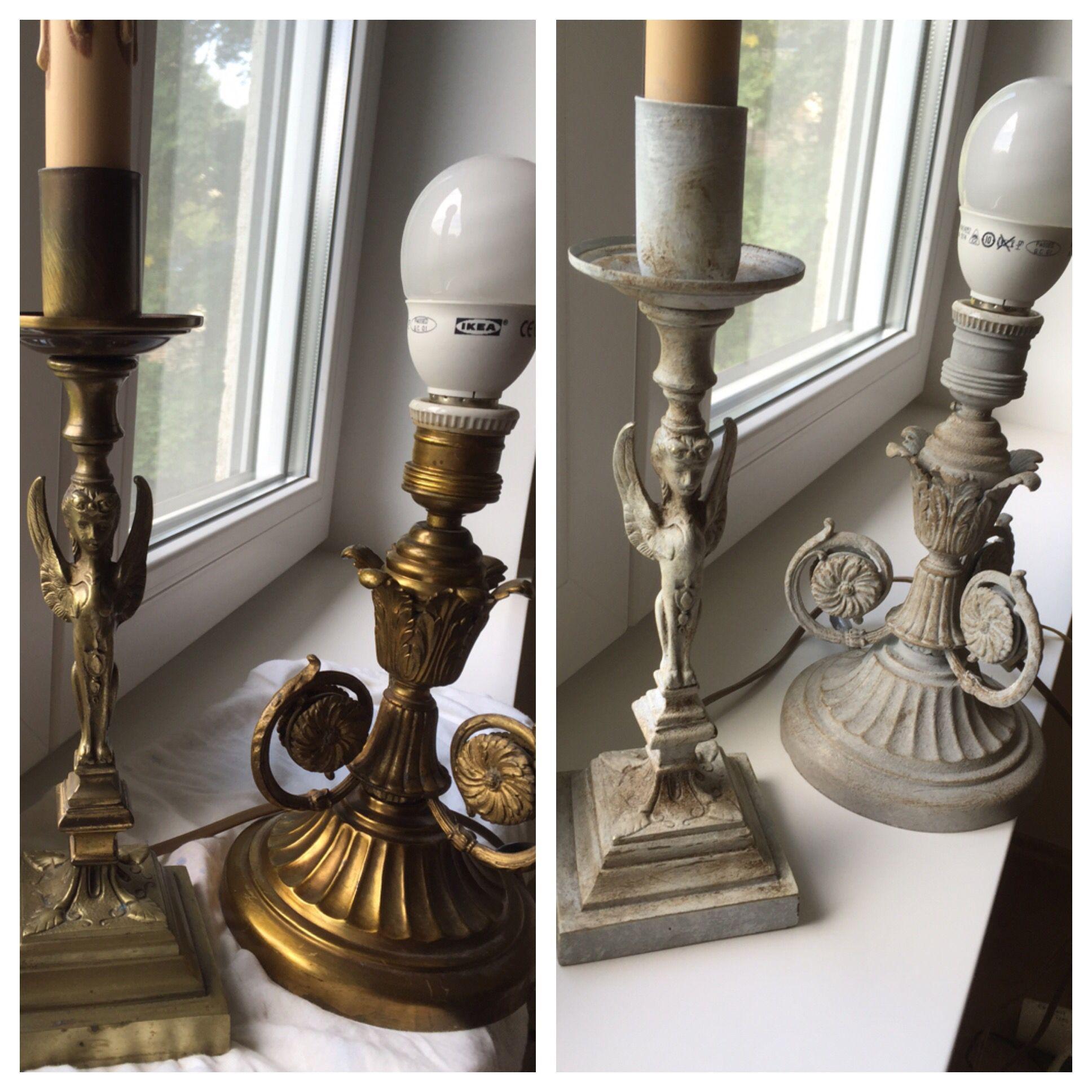 Brass Lamp Transformation   Paris Gray+old White+dark Wax