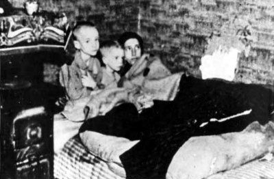 In the Hongerwinter, Dutch rail workers went on strike to stop the Germans, who punished them by putting a hold on all maritime transport. This cut off all their food and fuel. Many Dutch went to the countryside to trade with farmers, the Allied forces dropped food from the air, but many still starved to death. To stay warm, people burned their furniture. (Holland, 1944-5)