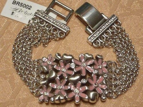Brighton Lacy Daisy Pink Flower Heart 5 Strand Swarovski Crystal Bracelet Ebay