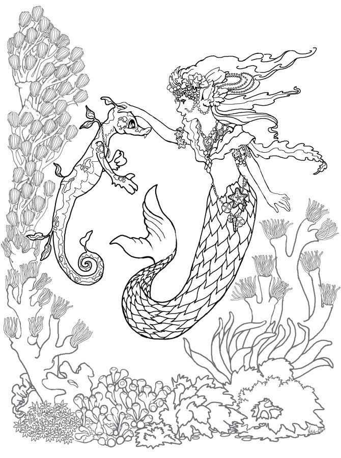 Mermaid Coloring Pages For Adults Best Coloring Pages For Kids Mermaid Coloring Pages Mermaid Coloring Horse Coloring Pages
