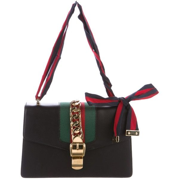 5ed07db1e769 Pre-owned Gucci 2017 Sylvie Leather Shoulder Bag ($1,995) ❤ liked on  Polyvore featuring bags, handbags, shoulder bags, black, leather purses,  bow handbags, ...