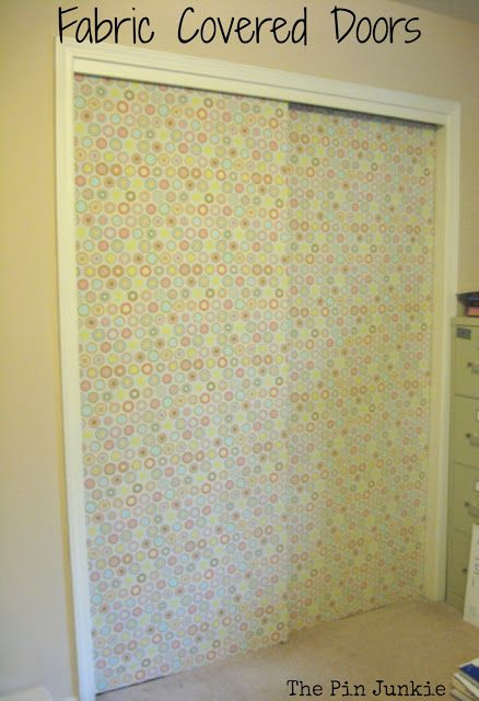 Amazing Easy Way To Fix Ugly Closet Doors   Cover With Fabric! What A Great Idea