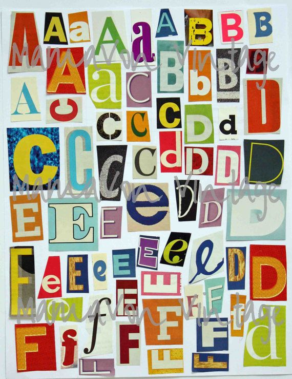 Printable Magazine Letter Cutouts (Set 1), Alphabet AZ