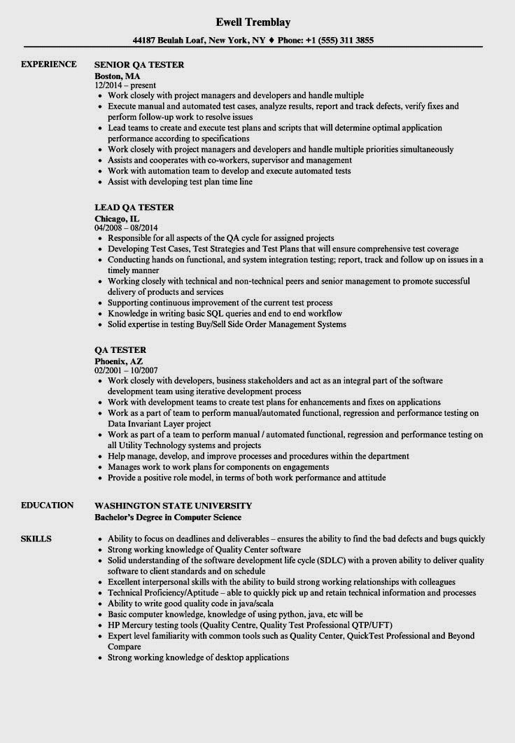 Experienced QA Software Tester Resume Sample | Monster.com ...