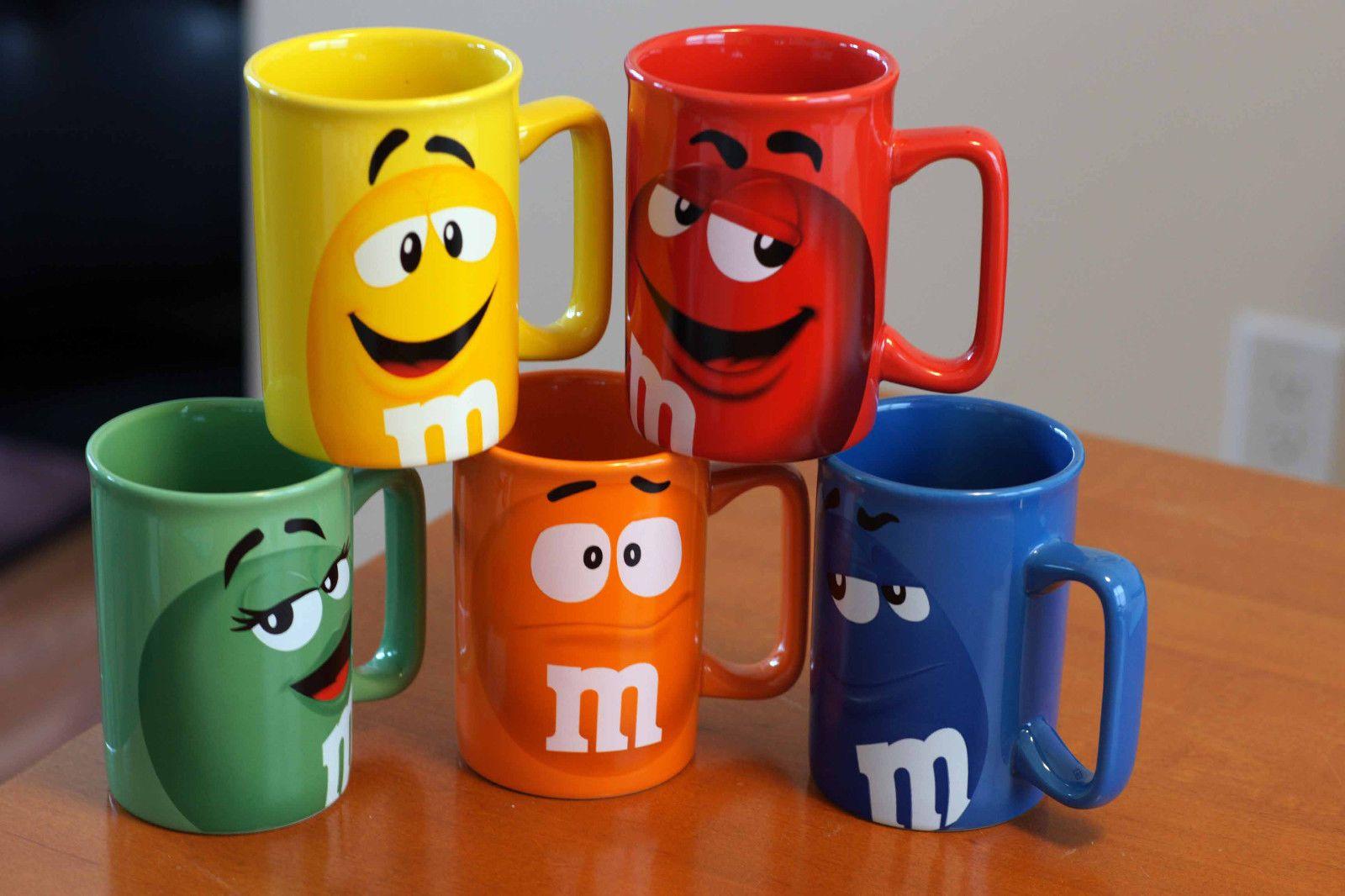 Five (5) Set M&M Tall Character Mugs Fun Face Mug Red Blue