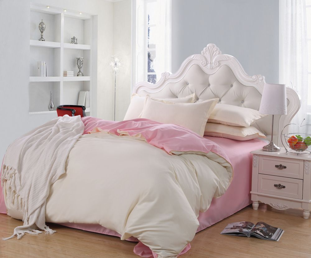 Elegant Girl Bedroom With Queen Size Bed Frame Tufted White Plain