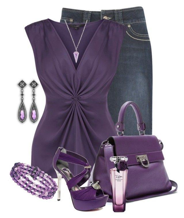 """Dressing Up Denim....Purple"" by jackie22 ❤ liked on Polyvore featuring kew.159, Salvatore Ferragamo, Paris Hilton, Lancôme, Black Diamond, Clink, 1928, platform sandals, diamond jewelry and tacori"