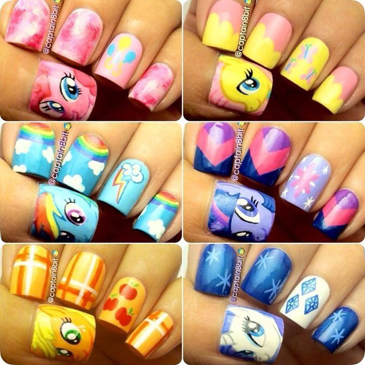 My nail art journal my little pony nails inspired mon petit my little pony nails omg i want the shutterfly ones prinsesfo Gallery