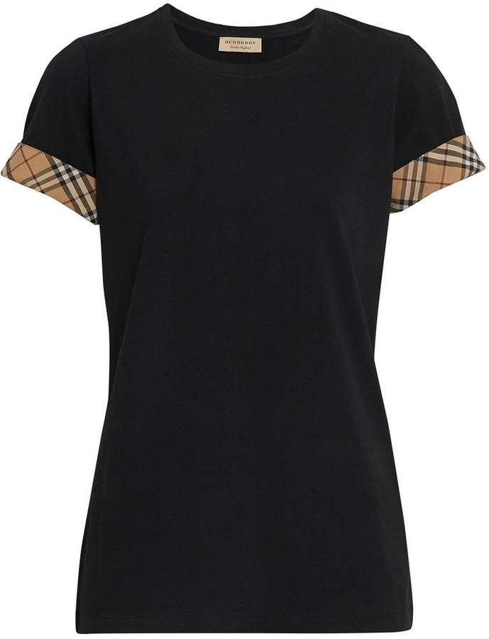 5d0f0825bf27 Burberry Check Detail Stretch Cotton T-shirt #shopstyle #womensfashion  #casualstyle
