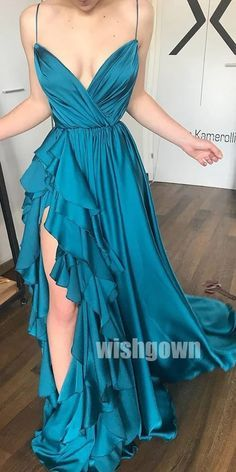 A-line Spaghetti Strap Side Slit Long Prom Dresses PG1114