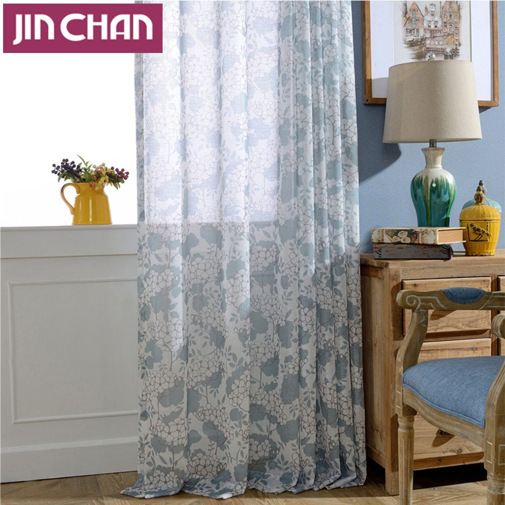 Modern floral printed polyetser window voile tulle sheer curtains