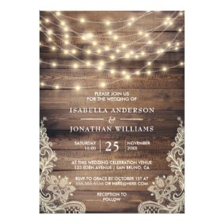 Rustic Wood Wedding Invitations with floral lace and string lights #barnweddings #barnweddinginvitations  #rusticweddinginvitations #rusticweddings #countryweddings