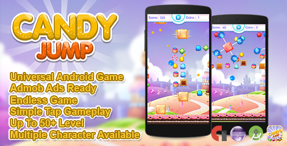 Candy Jump + Admob + Multiple Characters (Android Studio +