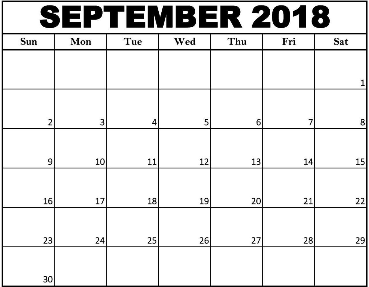blank september 2018 calendar editable table