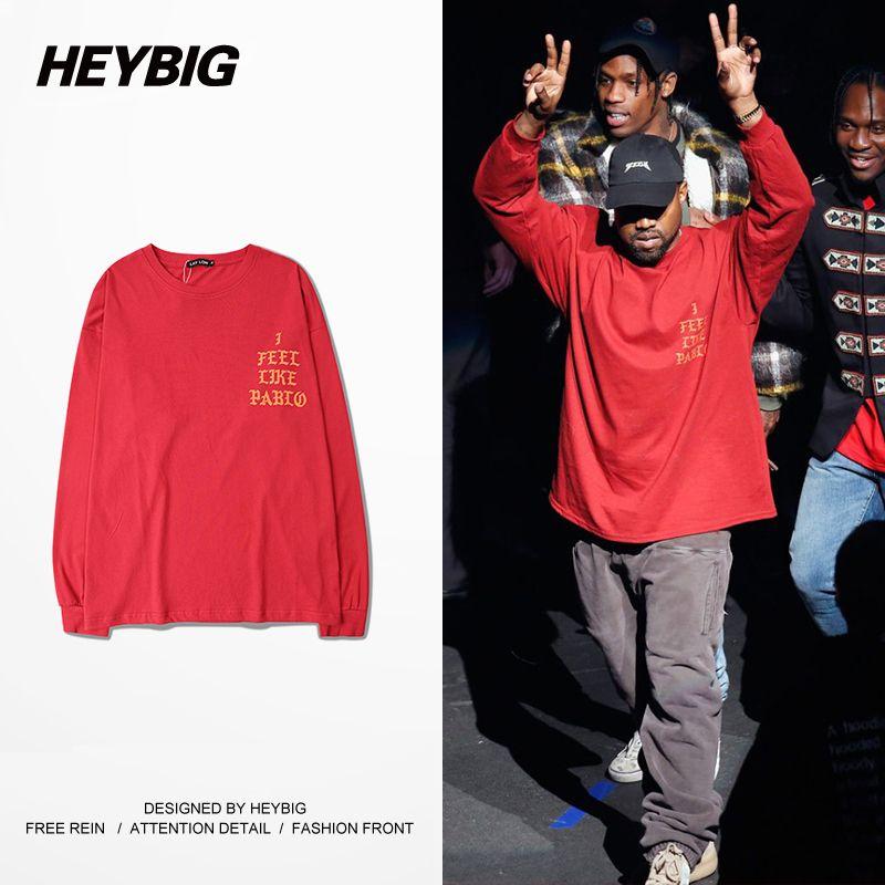 Heybig Abbigliamento Nuovo Arrivo Swag abbigliamento Uomo Kanye West Mi Sento Come Pablo Stagione 3 Hiphop Tee Formato Cinese S-3XL