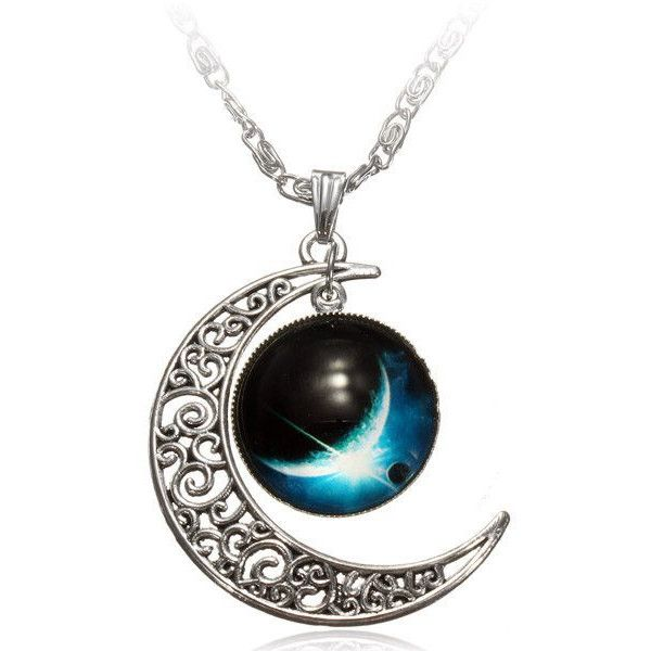 Galaxy Moon Necklace (£6) ❤ liked on Polyvore featuring jewelry, necklaces, cosmic jewelry, pendants & necklaces, glass cabochon jewelry, glass cabochon pendant and glass jewelry