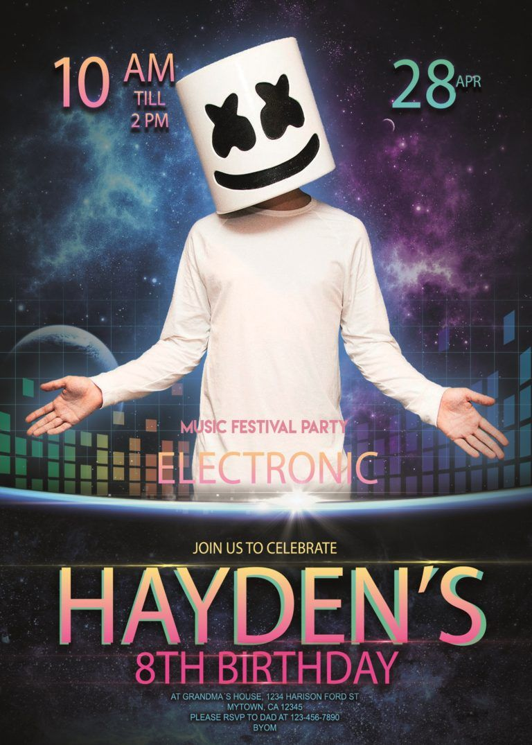 Marshmello Dj Electronic Party Birthday Invitation En 2020
