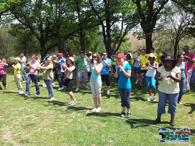 Team building exercises at the Nedbank team building event
