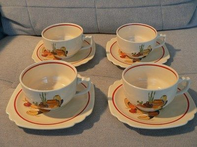Homer Laughlin Mexicana cups and saucers  Made in the U.S.A.