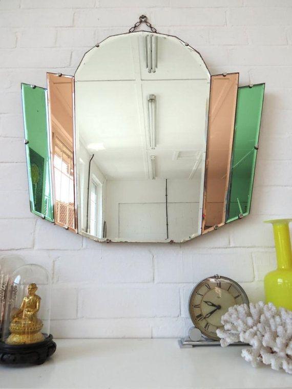 Vintage Art Deco Bevelled Edge Wall Mirror With Colored Glass Art Deco Home Art Deco Mirror Art Deco Bathroom