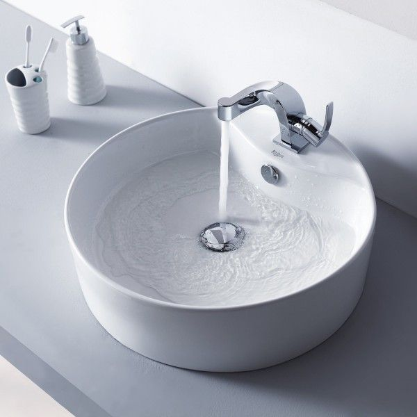 The Simplicity Of This Chrome Faucet Is Perfect With The Pretty Porcelain  Sink. Bathroom ...