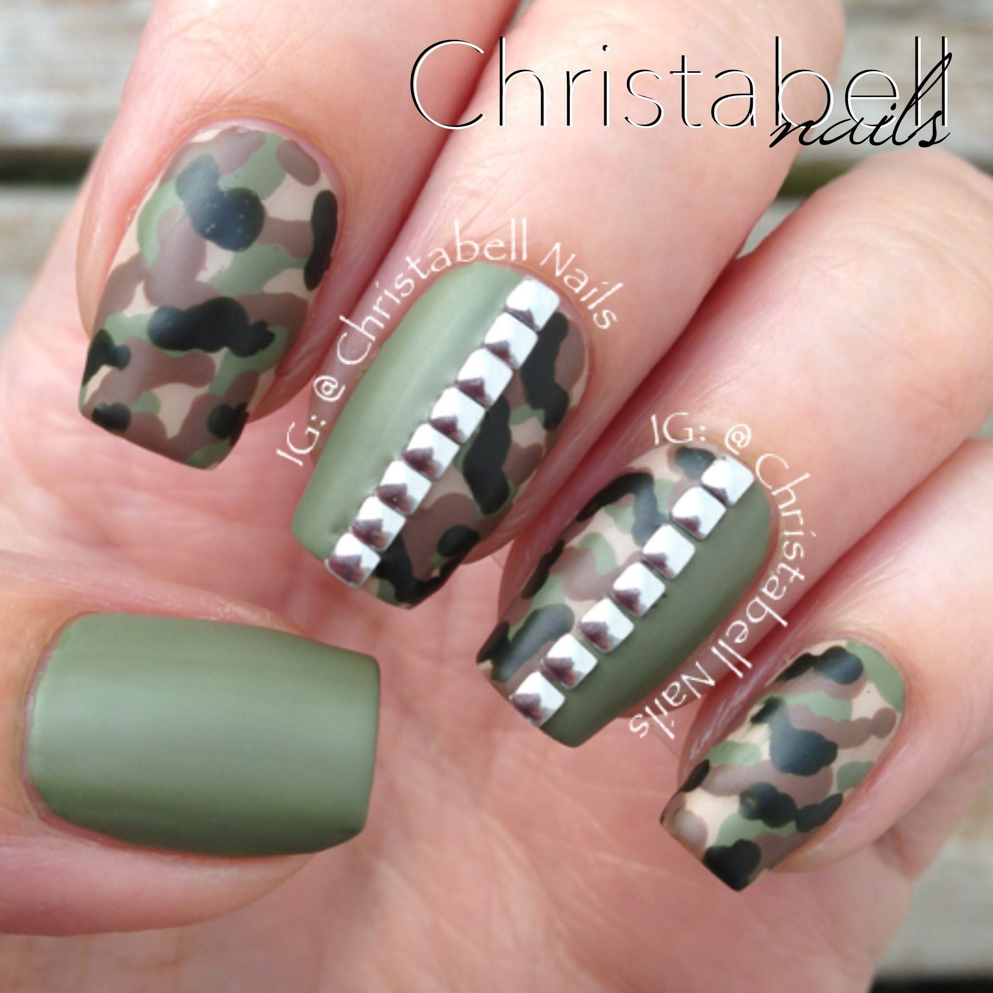 ChristabellNails Camo Nails Tutorial with Studs | Nails | Pinterest ...