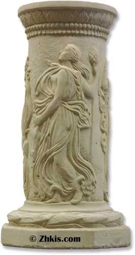 The nine Muses dance around the outside of this Greek column pedestal. Rustic looking and has an aged look. With his octagon a bottom and it detailed engravings this piece is perfect for outdoor Greek or Roman setting several finished choices available on this piece.
