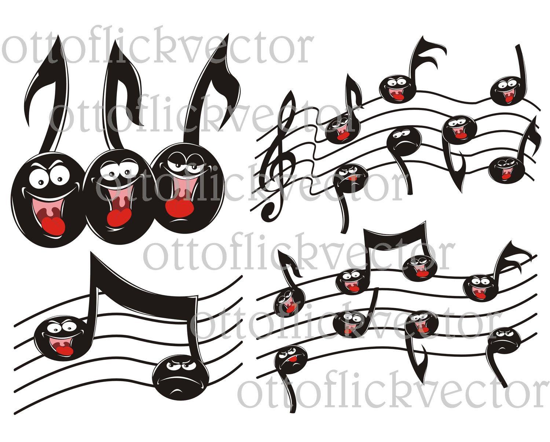 MUSIC NOTES CLIPART, singing, happy, sad cartoon notes eps