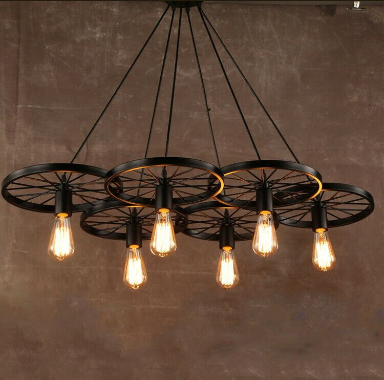 Details About 6 Heads Rustic Chandelier Industrial Pendant Light