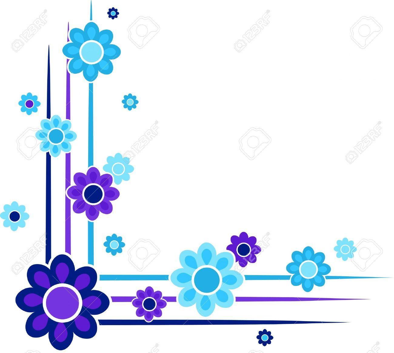 Blue Flower Corner Border | www.imgkid.com - The Image Kid ...