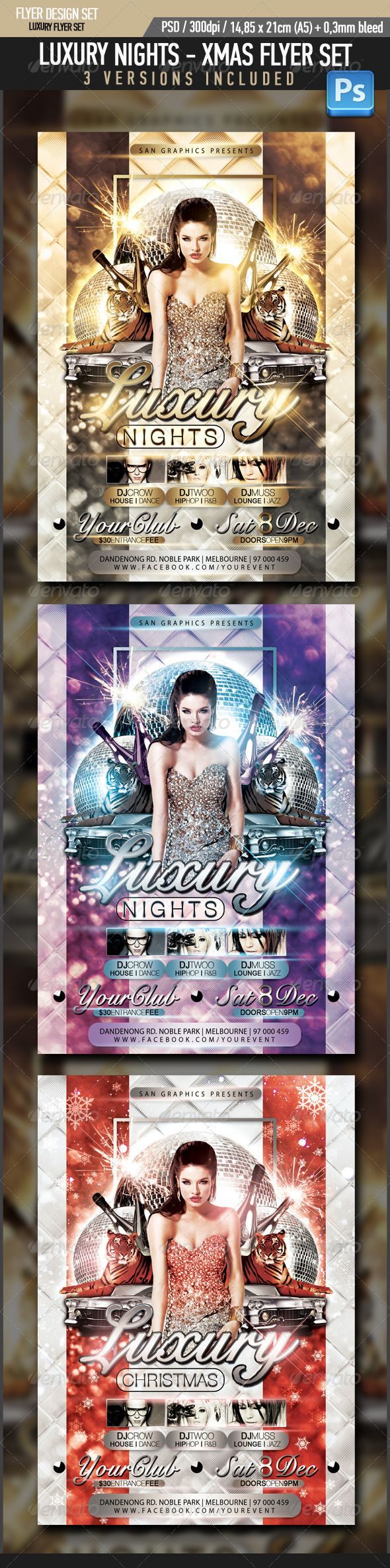luxury nights xmas flyer glow fonts and night luxury nights xmas flyer graphicriver item for