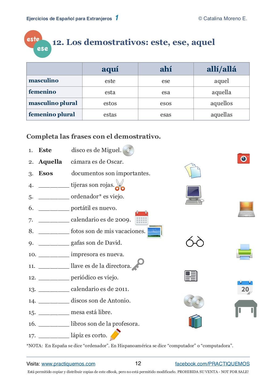 Ejercicios Espanol 1 Ejercicios De Español Ejercicios Para Aprender Español Aprender Español