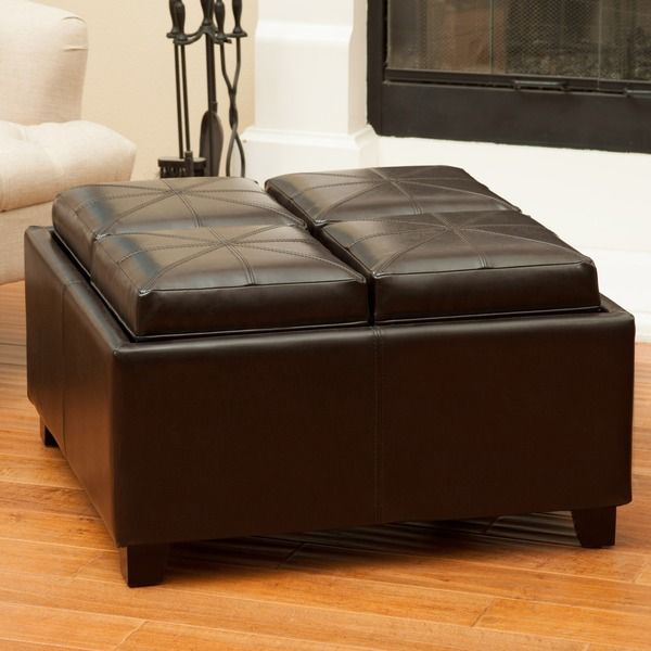 Christopher Knight Home Rubik Tray Top Storage Ottoman Leather