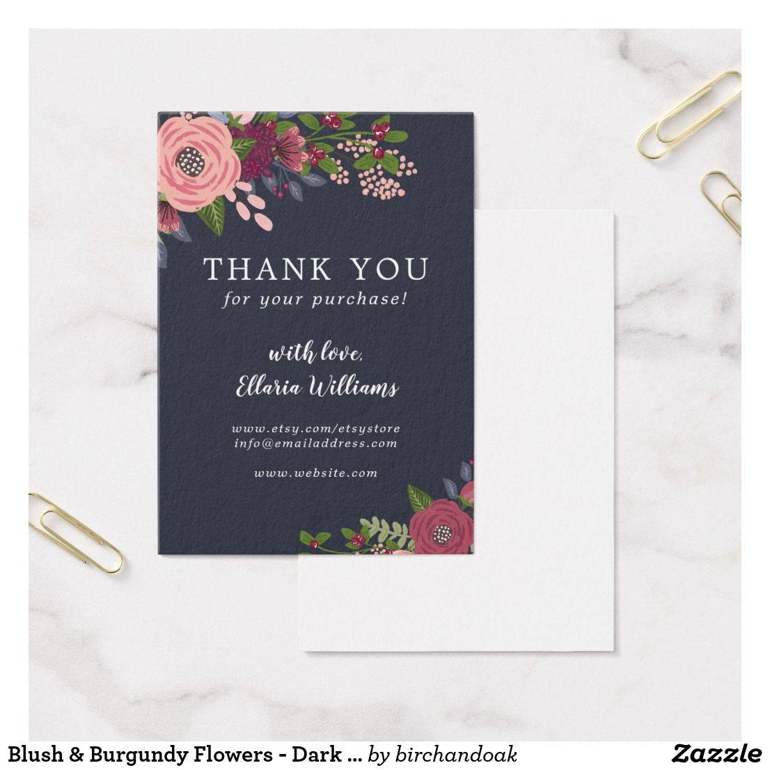 Blush & Burgundy Flowers - Dark Blue - Thank You Business Card ...