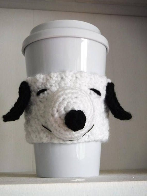 Snoopy Coffee Cup Cozy de ganchillo | crochet | Pinterest | Snoopy ...