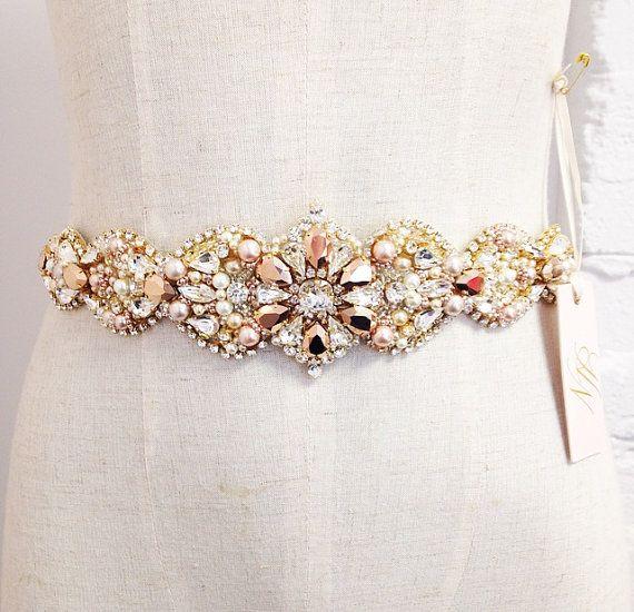 Custom Rose Gold and Blush Crystal Bridal Belt- Swarovski Crystal ...