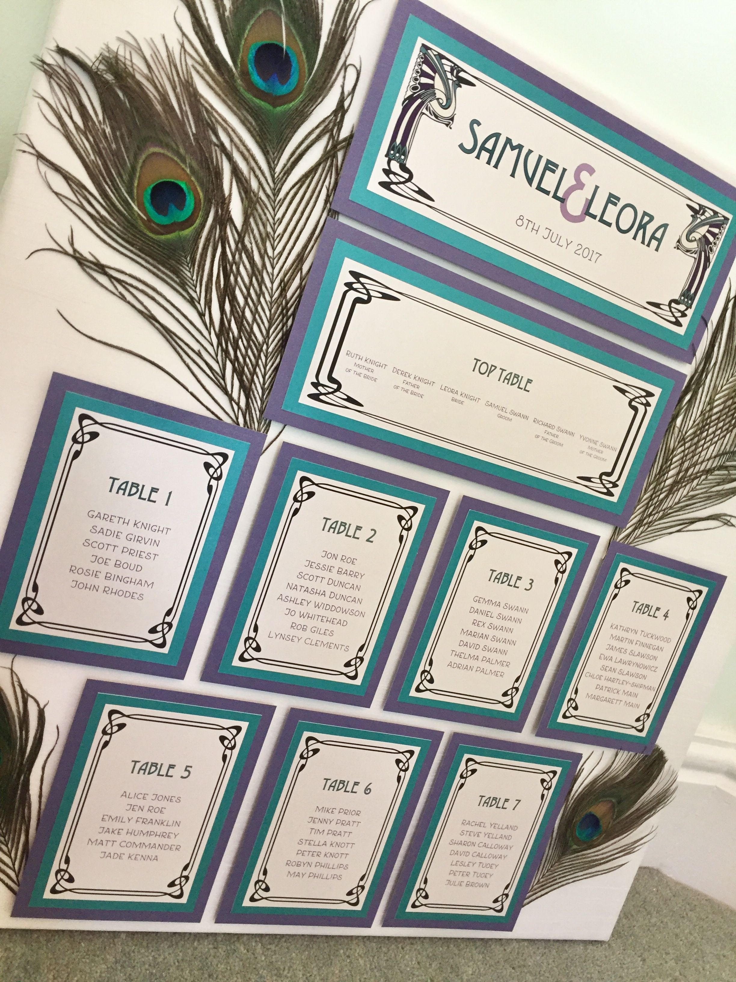 Art Nouveau Peacock Feather Wedding Table Plan In Teal Violet